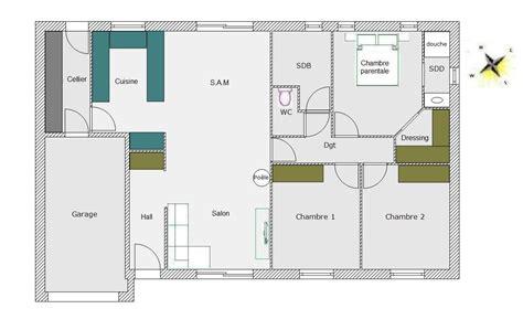 plan maison plain pied 100m2 3 chambres plan maison rectangulaire plain pied 100m2 madame ki