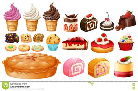 all kinds of desserts set of different kinds of desserts stock vector image 74581556