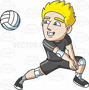 Cartoon Clipart: A Male Volleyball Player Preparing For A ...