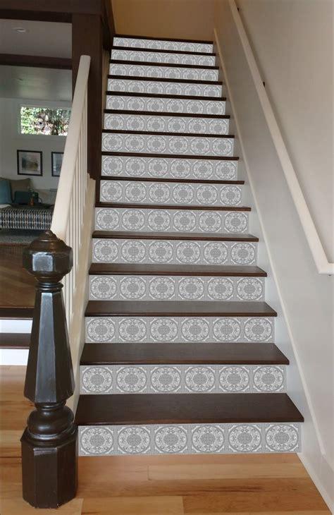 painted stairways grey mosaic tile stairs riserart