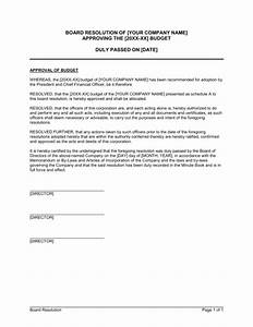 board resolution approving budget template sample form With letter of resolution template