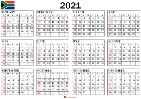 calendar  south africa