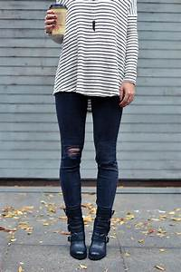 Fall outfit moto boots ripped black skinny jeans striped sweater. Fall Outfit
