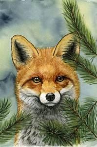 Red fox original watercolor | Art * Painting's * | Pinterest