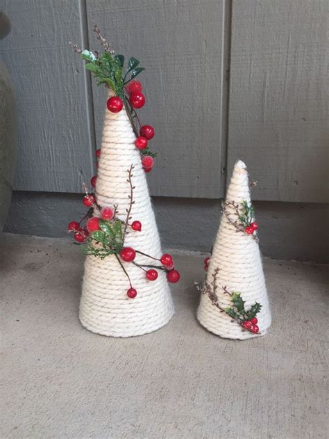 giant hollyberry diy paper mache cone yarn trees with berry frosted branch garland