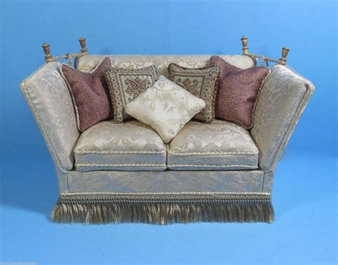 Knowle Settee by Hubble Knowles Sofa Upholstered In Damask With