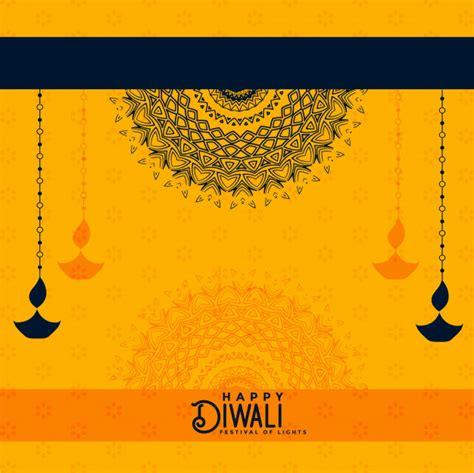 happy diwali yellow decorative background vector