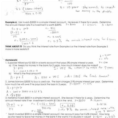 simple and compound interest worksheet answers worksheet
