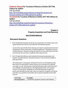 Solutions Manual For Taxation Of Business Entities 2017