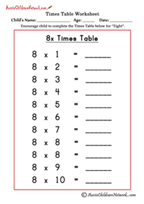 8 times tables chart multiplication times tables worksheets aussie childcare