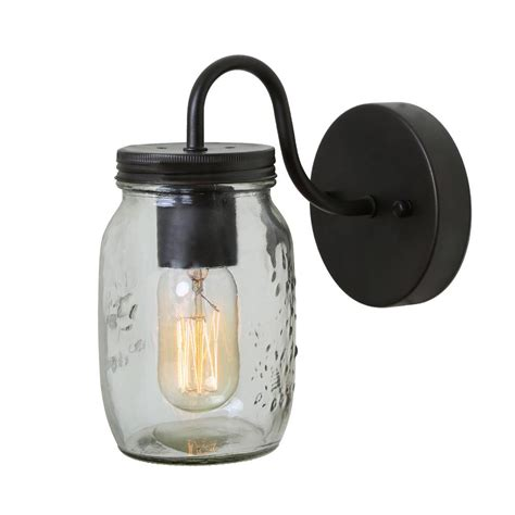 lnc  light bronze mason jars wall sconce