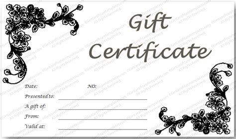 black and white gift certificate template free black glades gift certificate template