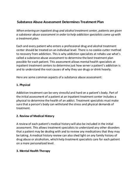 5 Treatment Plan Template For Substance Abuse Etdir Substance Abuse Assessment Center Fort