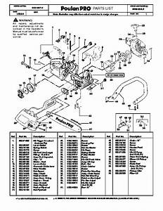 2004 Poulan Pro Ppb1634le Chainsaw Parts List