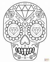 Coloring Skull Sugar Printable Popular sketch template