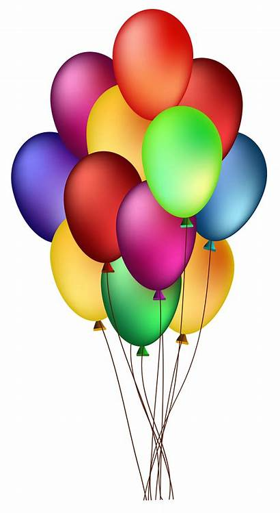 Balloons Bunch Clip Birthday Colorful Clipart Happy