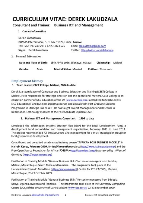 Curriculum Vitae Sample Kenya Example Good Resume Template