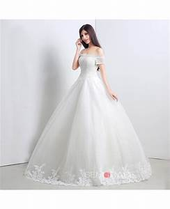 ball gown off the shoulder short strap floor length With short ball gown wedding dresses