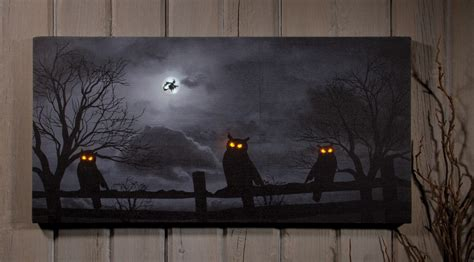 spooky led lighted owl witch print wall