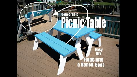 diy convertible picnic table  folds  bench seats