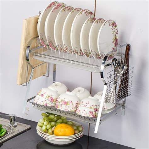 tier  shaped chrome stainless plate dish rack drainboard drying drainer kitchen accessories