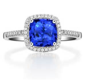 2 carat cushion cut engagement rings 2 carat cushion cut blue sapphire and halo engagement ring in white gold jeenjewels