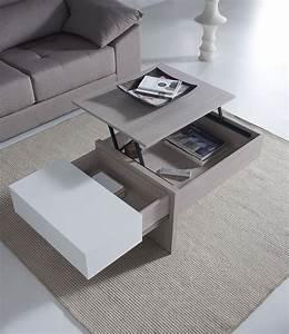 Table Basse Moderne : table de salon transformable couleur bois et blanc ~ Preciouscoupons.com Idées de Décoration