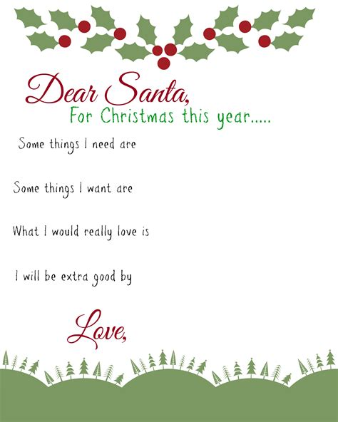 dear santa kids  list printable busy moms helper