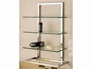Badregal Glasregal schmal Metall verchromt 4 Einlegeböden Glas