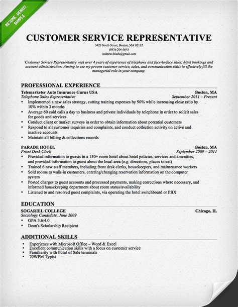 Sle Of Resume For Customer Service by Customer Service Representative Resume Template For