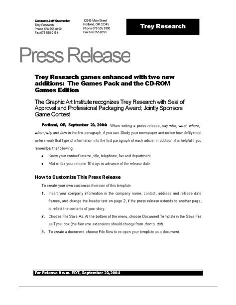 free press release template free press release exle new templates at allbusinesstemplates