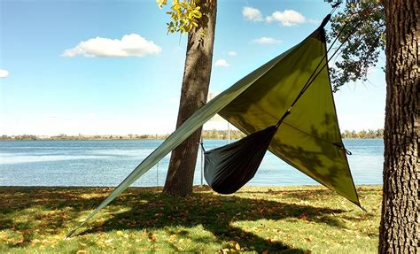 Hammock Cing With A by 8 Tarp Tents Backpacking Guide Gear Tarp Woodland Camo