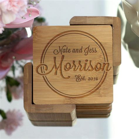 personalized engraved bamboo coaster set morrison stamp