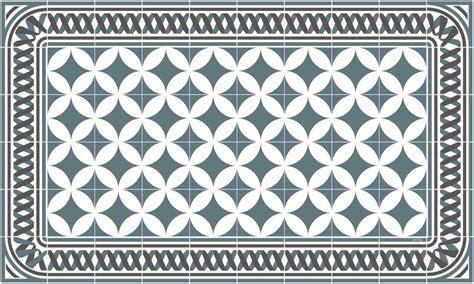 tapis vinyle carreaux de ciment louison bleu gris
