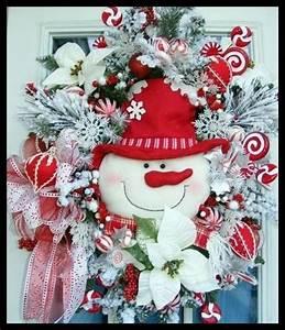 Snowman Christmas Wreath for front door