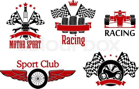 winged wheel tires  racing flags stock vector