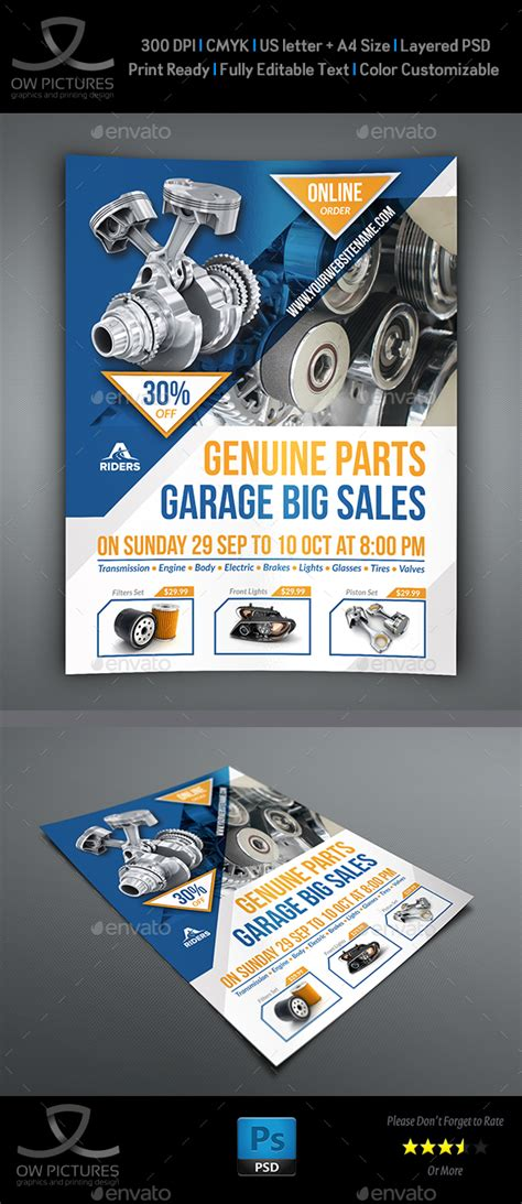 auto parts flyer template  owpictures graphicriver