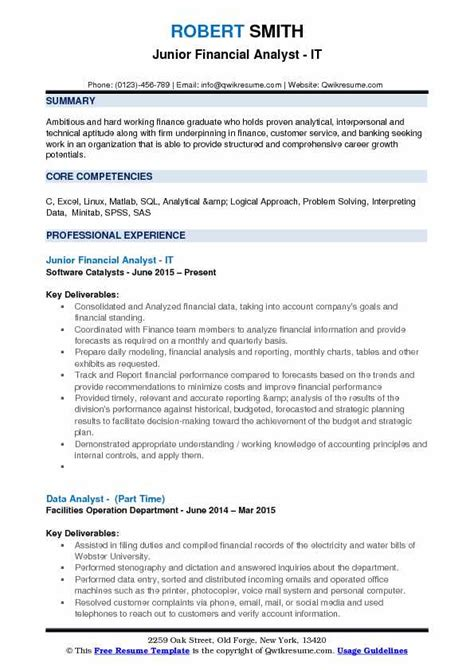 junior financial analyst resume livmoore tk doc accounting