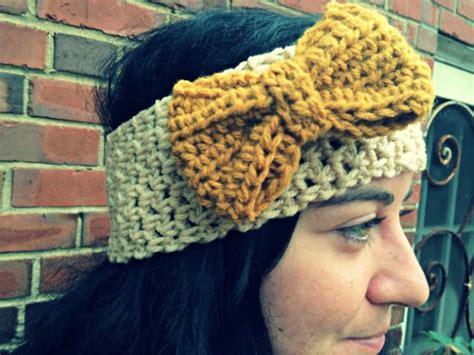 crochet ear warmer  bow pattern skip   lou