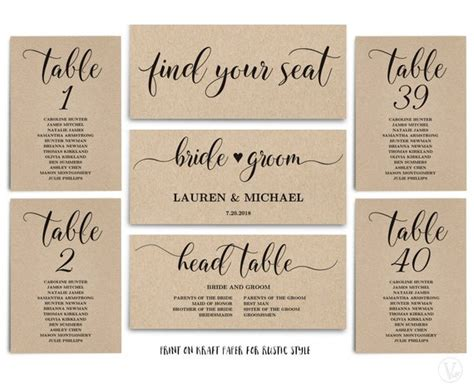 rustic wedding seating chart template header signs  table