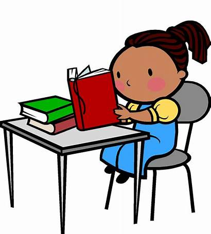 Desk Clipart Student Sitting Tidy Reading Transparent