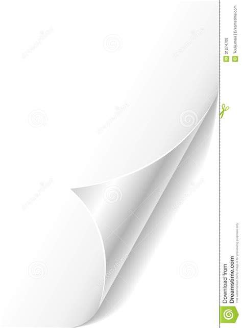 curled paper page corner stock photo image