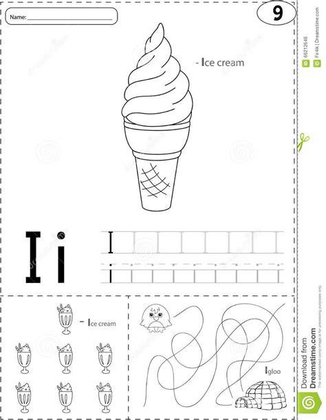 cartoon ice cream  igloo alphabet tracing worksheet