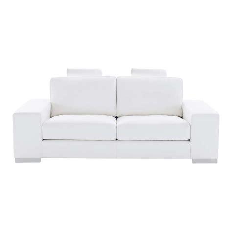 canape cuir blanc 2 places canap 233 2 places en cuir blanc daytona maisons du monde