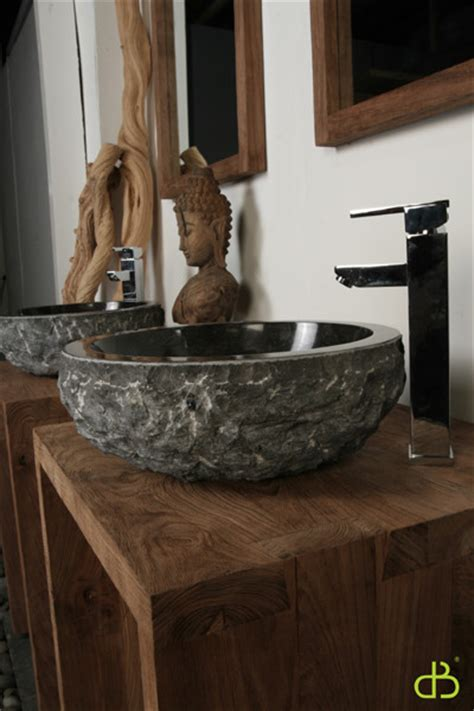 Hand Carved Granite Washbasin - Tropical - Bathroom Sinks