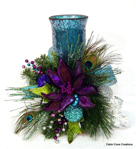peacock christmas floral arrangement centerpiece candle holder