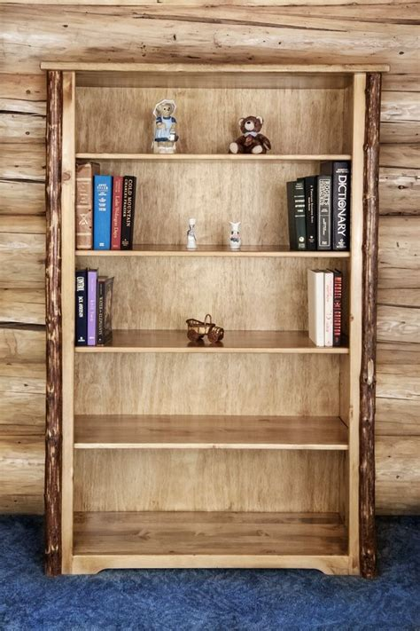 Log Bookcase by Rustic Log Bookcases Wood Book Solid Pine Shelf Amish