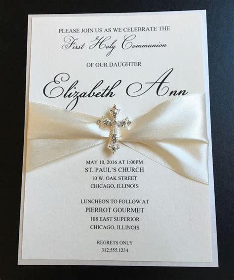 cream embellished luxury  communion invitation