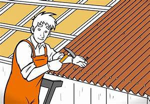 Gartenhaus Dach Neu Decken : dach decken mit bitumenwellplatten obi ratgeber ~ Buech-reservation.com Haus und Dekorationen