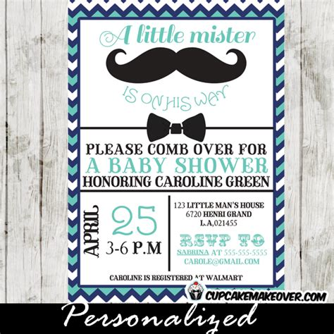 mustache baby shower invitations chevron blue mustache and bow tie baby shower
